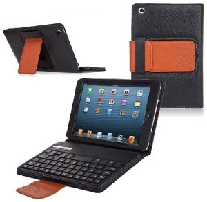 Bluetooth Keyboard Tablet Stand Leather Case for iPad Mini