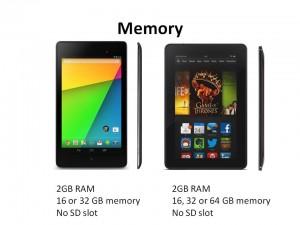 google nexus 7 vs kindle fire hdx 7 memory