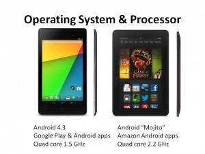 amazon fire tablet or Google nexus tablet - operating system and processor